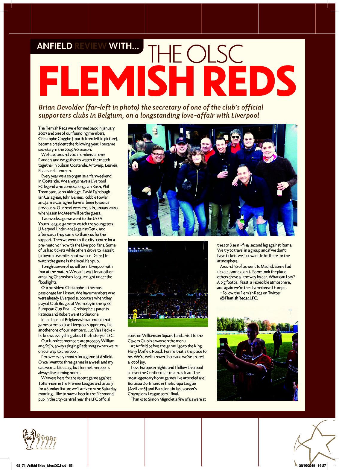 Flemish Reds in programmaboekje op Anfield